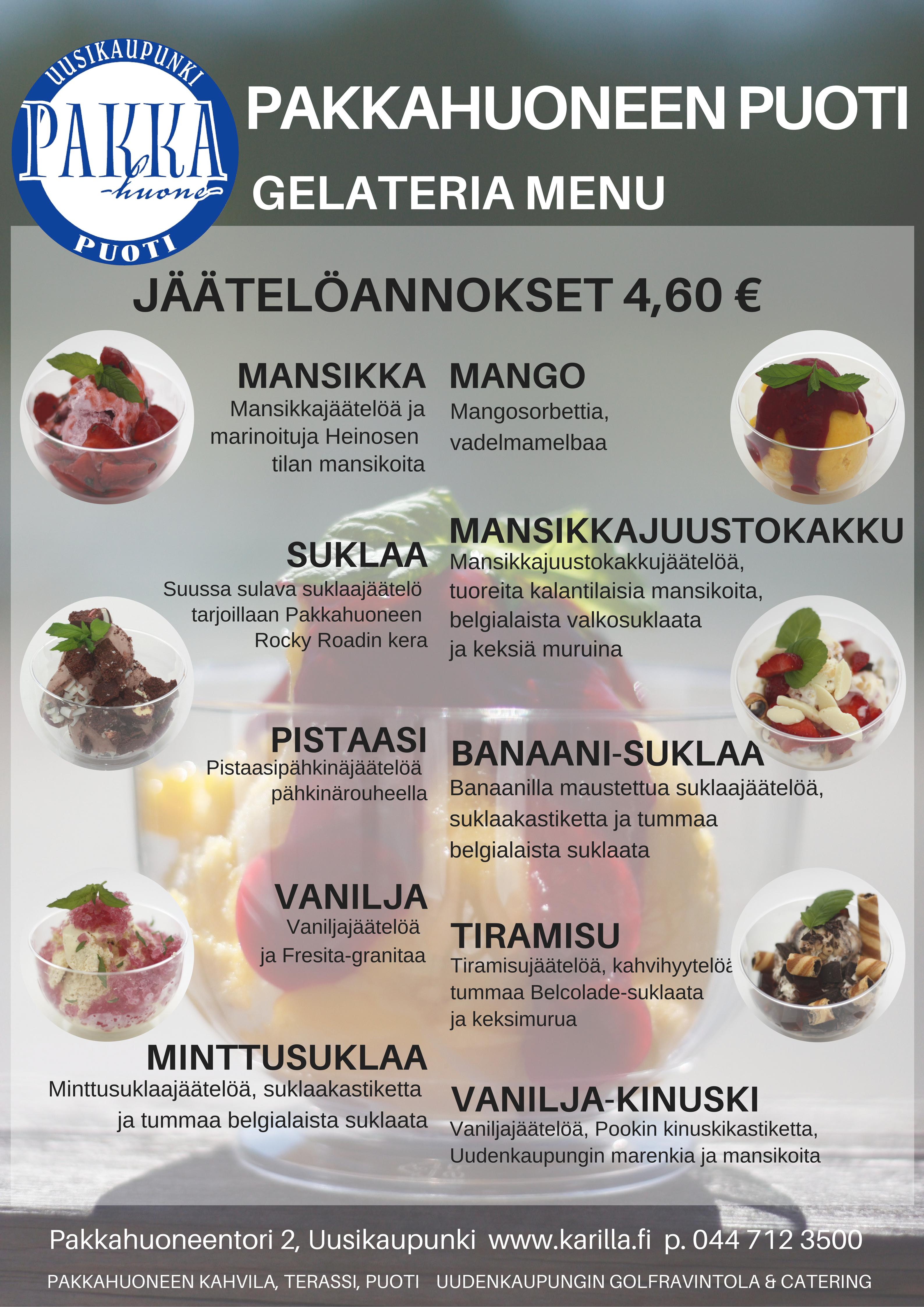 Gelateria jäätelömenu